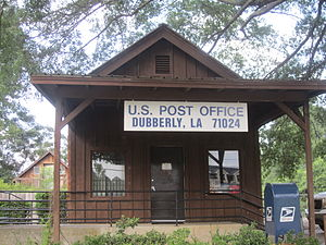 English: Wooden post office building, Dubberly...