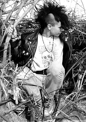 English: Young punk with mohawk hairstyle and ...