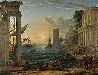 Paisaje: Puerto con el embarque de la Reina de Saba (1648), de Claude Lorrain, National Gallery de Londres.