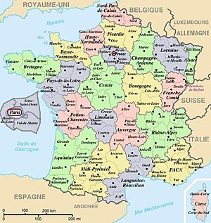 Map of official départements and régions of Fr...