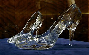 Pair of crystal glass slippers made by Darting...