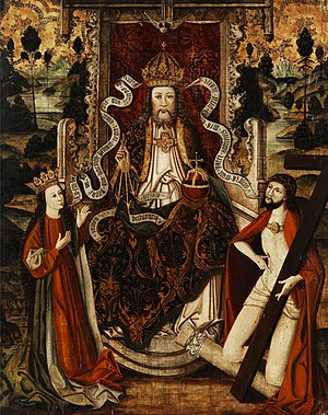 God the Father on a throne, with Virgin Mary a...
