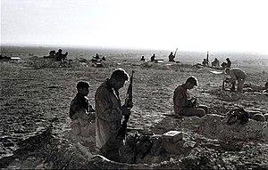 Israeli troops preparing for combat in the Sin...