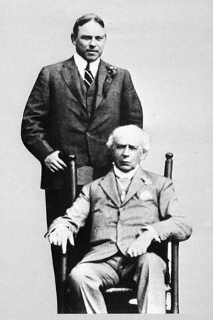 Portrait of Sir Wilfrid Laurier (seated) with ...