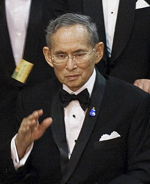 English: Thailand's King Bhumibol Adulyadej wa...