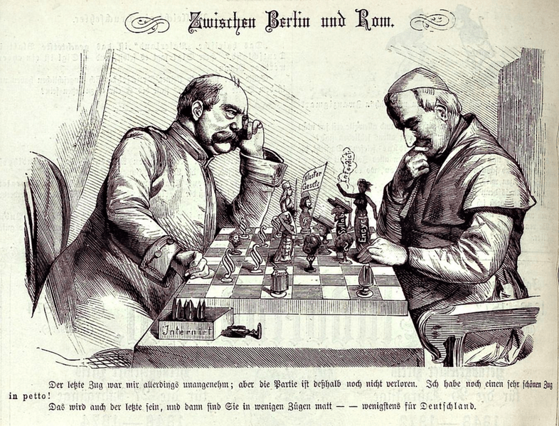 "Caricature ""Between Berlin and Rome"" from Kladderadatsch, 16 May 1875."
