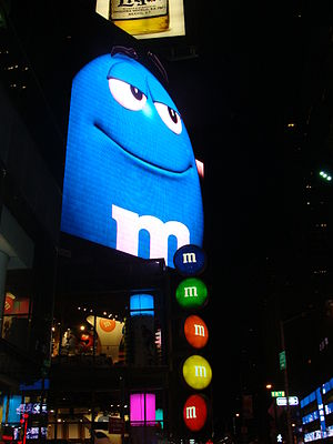 This is a photo of the outside of the M&M stor...