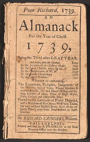 1739 Edition of Poor Richard's Almanac