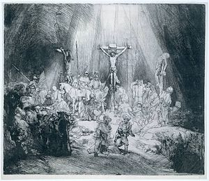 The Three Crosses, etching by Rembrandt, 1653,...