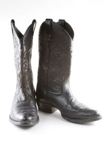 Black Western cowboy boots on a white background