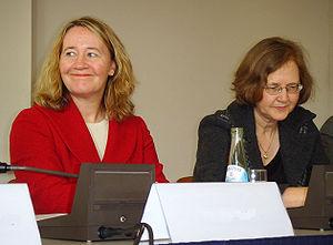 Carol Greider (in red) and Elizabeth Blackburn...
