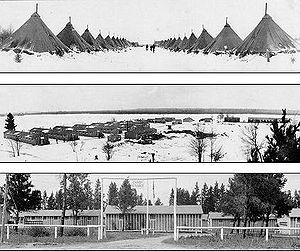 CCC camps in Michigan; the tents were soon rep...