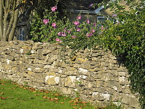 Dry-stone wall in Chalford Hill, Gloucestershire
