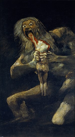 Saturn Devouring His Son, c. 1819–1823. Oil mu...