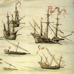 Parts Of A Pirate Ship Diagram Trailer Wiring 7 Wire Galleon Wikipedia Carracks Center Right Square Rigged Caravel Below Galley And Fusta Galliot Depicted By D Joao De Castro On The Suez Expedition Part