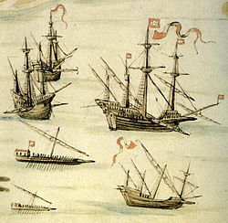 parts of a pirate ship diagram 12 volt solenoid wiring galleon wikipedia carracks center right square rigged caravel below galley and fusta galliot depicted by d joao de castro on the suez expedition part
