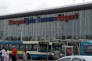 The terminal building at John Lennon Airport L...