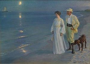 P.S. Kroyer: Summer evening on Skagen's beach ...