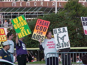 Westboro Baptist Church members from Topeka, K...
