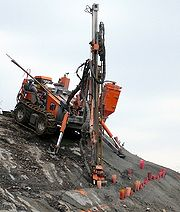 Drilling rig preparing rock blasting