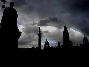 George Square in Glasgow on a stormy day