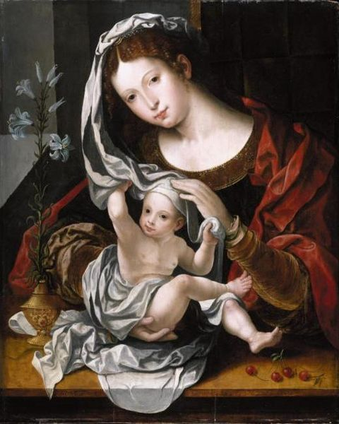 File:Jan Gossaert - the virgin and child with white lily and cherries.jpg