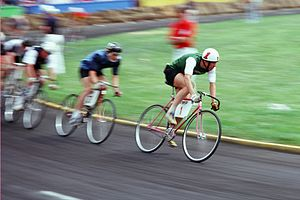 English: Participants in the Little 500 bicycl...