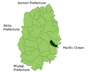 Location Map of Otsuchi in Iwate Prefecture, Japan