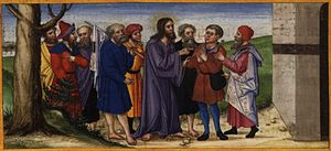 Page 100v: Healing of the blind man of Jericho...