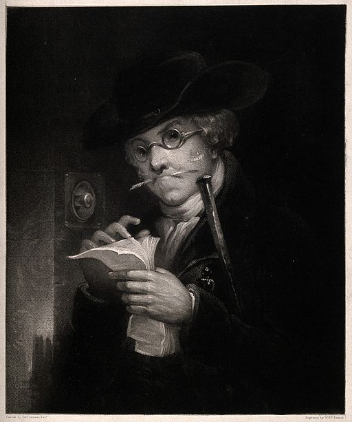 Portrait of a debt collector (?) thumbing through his papers Wellcome V0015846