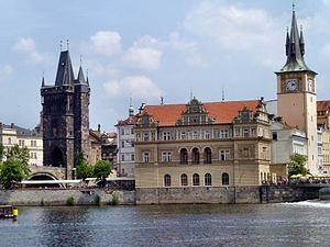 English: Charles Bridge as seen from the Vltav...