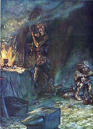 Siegfried reforges the sword Nothung as Mime p...