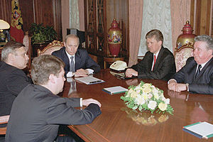 THE KREMLIN, MOSCOW. Vladimir Putin with newly...