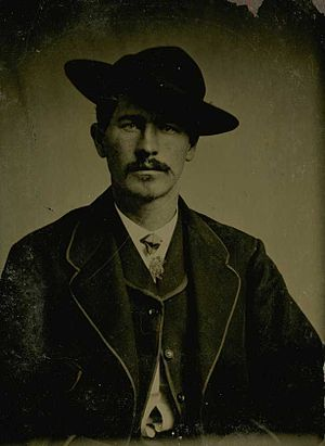 English: Wyatt Earp in the mid-1870s wearing a...