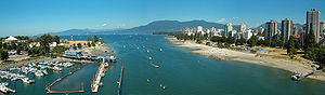 English: A view from Burrard Bridge to English...