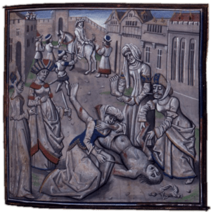 A medieval depiction of the death of Androniko...