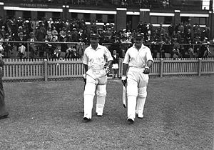 Bradman (left, with his vice-captain Stan McCa...