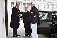 President Donald Trump greets Al-Abadi upon his arrival to the White House in Washington, D.C.