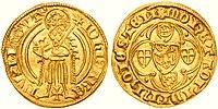 Antiga moeda em ouro.