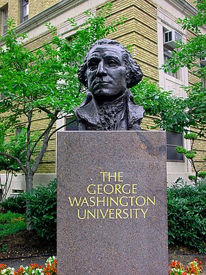 A bust of George Washington on the campus of G...