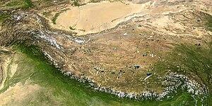 The Tibetan plateau lies between the Himalayan...