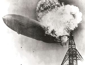 The Zeppelin LZ 129 Hindenburg catching fire o...