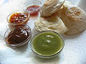 "English: ""Samosas"" and four differen..."