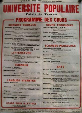 Programme des cours de l'Université populaire de Villeurbanne, 1936
