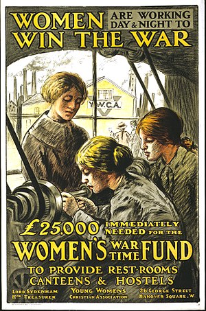 English: War poster : Women are Working Day an...