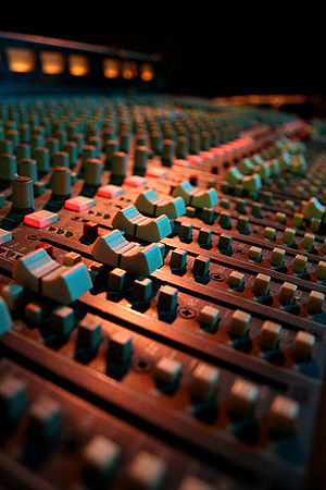 Audio mixer faders at the Bull & Gate pub in K...