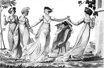Women playing blind man's bluff in 1803.