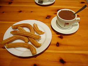 Spanish churros with hot chocolate.