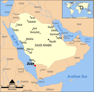 Jizan, Saudi Arabia locator map
