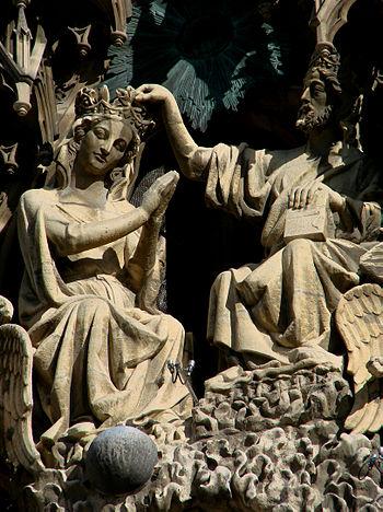 Le Couronnement de la Vierge, détail du groupe...